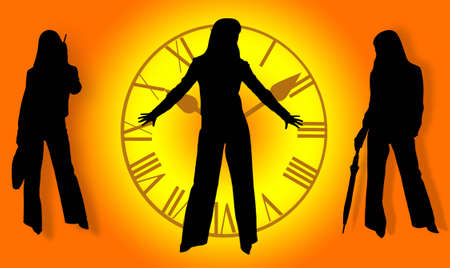 Silhouettes of business ladies photo