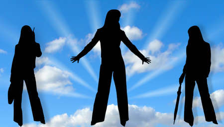being the case: Silhouettes of business women on  blue sky Stock Photo