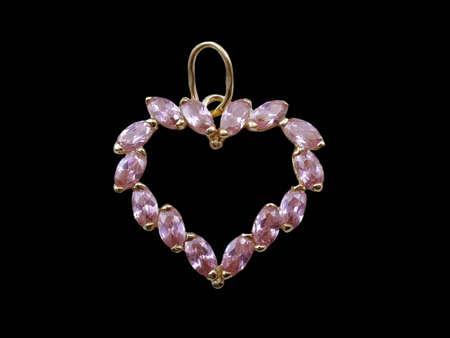 Golden jewelry heart photo