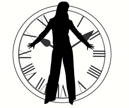 Silhouette of clock and woman isolated on white. Stock Photo - 732471