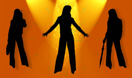 Silhouettes of business ladies in magic light photo