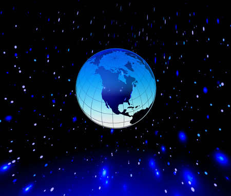 fantastic world:  Planet Earth and stars in blue space. Stock Photo