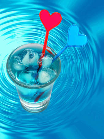 tipple: Blue Cocktail . Soft drink with ice Stock Photo