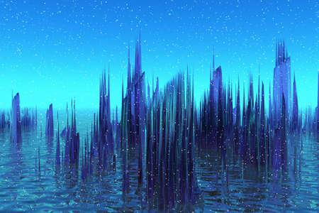 Blue snow landscape Stock Photo - 809737