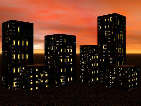 edifice: Sunset in the city. 3D Illustration