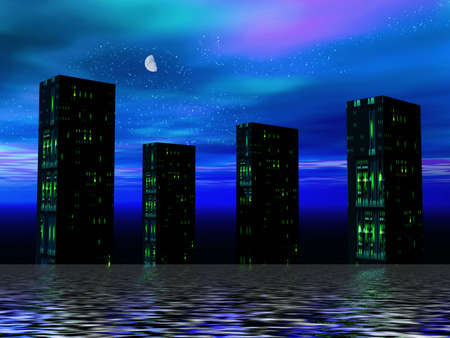 Night in the city. 3D illustration Stock Illustration - 809746
