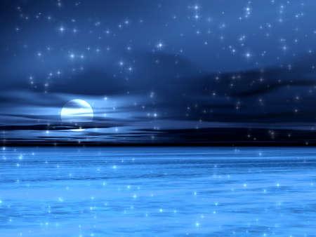 Blue night landscape Stock Photo - 821726