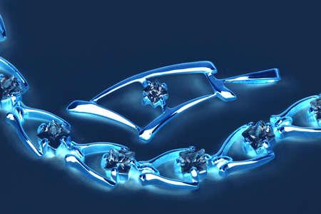 Jewelry  in blue neon light photo