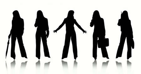 being the case: Silhouettes of women isolated on white background Stock Photo