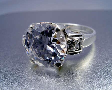 Platinum ring with diamond Stock Photo - 864723