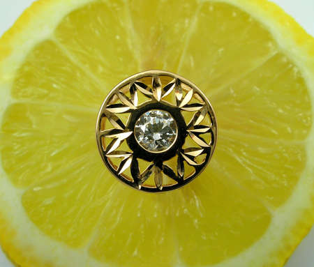 Lemon and golden ring with diamond Stock Photo - 864727