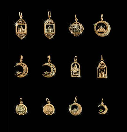 mohammedan: Twelve gold jewelry Mohammedan golden symbols