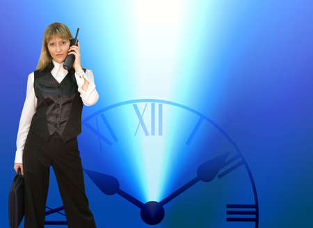Time. Business lady and time. Illustration & photo illustration