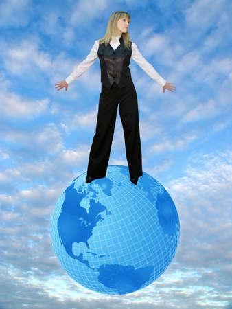 Illustrated Globe  and woman. Photo & illustration illustration