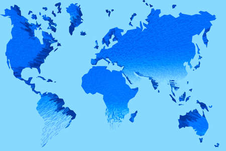 2d map: Abstraction map of world. Illustration 2D Stock Photo