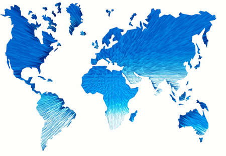 Abstraction map of world. Isolated on white photo