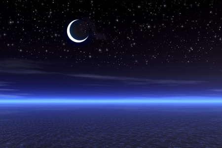 noche estrellada: Noche starry de la luna.