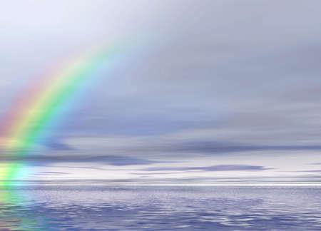 Panoramic 3D landscape. Rainbow Stock Photo - 913844