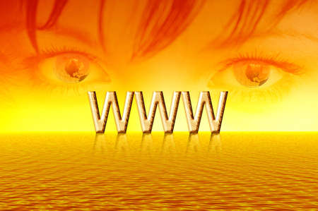 Golden sunrise. Eyes & internet. Abstraction illustration illustration