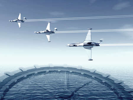 Airplanes and compass. 3D landscape photo