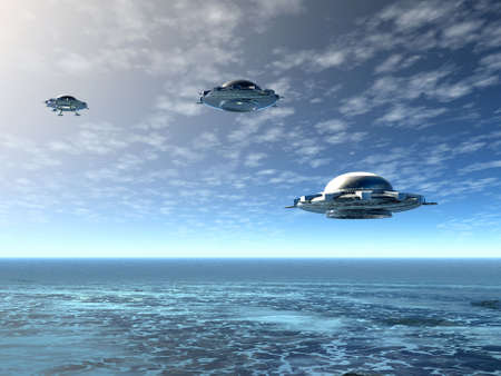 UFO and ocean. 3D landscape Stock Photo - 1230396