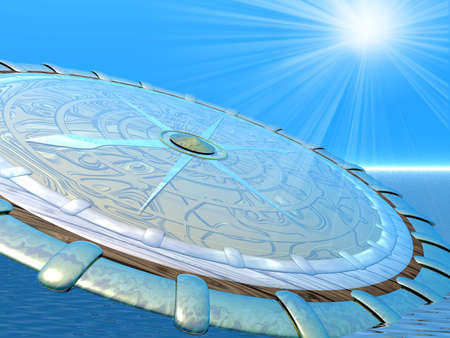 Compass and rays. 3D illustration Stock Illustration - 1230399