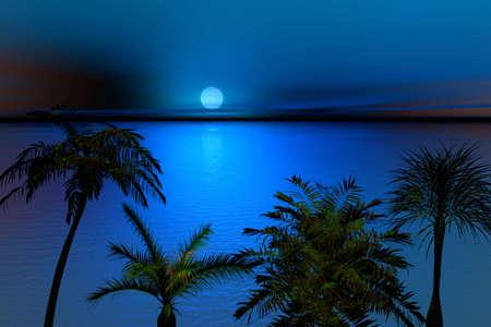 Moonlit night. Landscape .3d Illustration