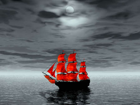 Scarlet sails. 3D landscape Stock Photo - 1230407