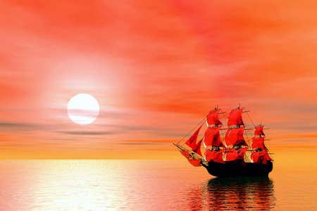 scarlet: Sunset. Sailing ship. 3D landscape Stock Photo