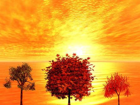 Sunrise. Trees. 3D landsape. photo