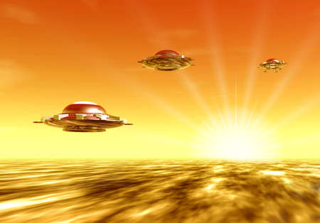 Ufo and sun. Sunset. 3D landscape photo