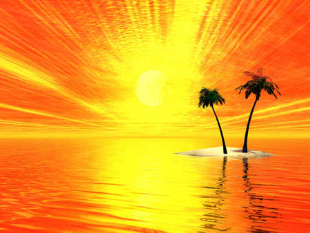 Island with two palms. Sunset. 3d Illustration Stock Illustration - 1230411