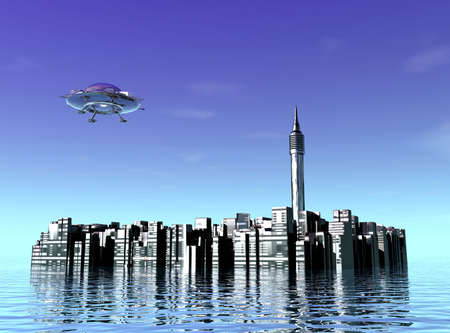 City in water and UFO photo