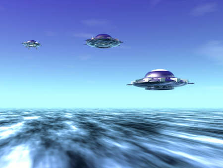 illustrates: UFO and clouds. 3D landscape