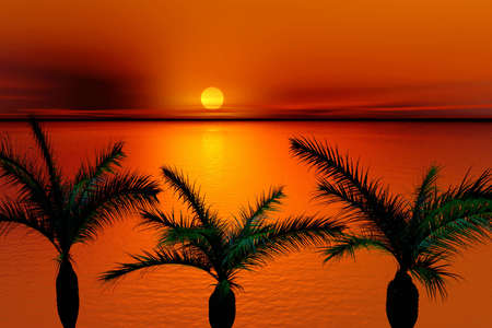 Tropical sunset. Landscape .3d Illustration Stock Illustration - 1268231