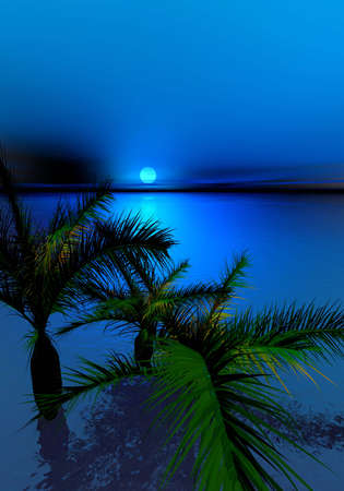Moonlit night and palms .3d Illustration Stock Illustration - 1268232
