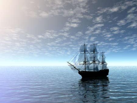 Sailing ship in sea. 3D landscape