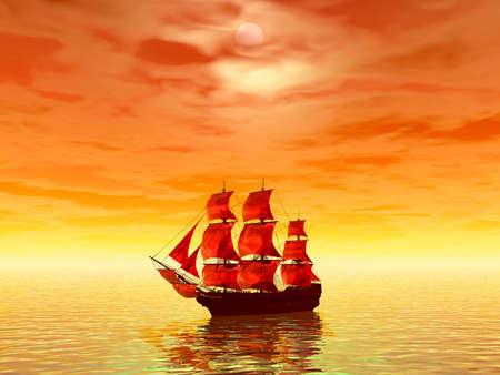 scarlet: Sunset. Scarlet sails. 3D landscape