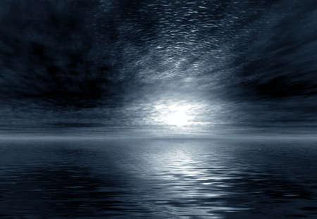 3D landsacpe. Moonlight