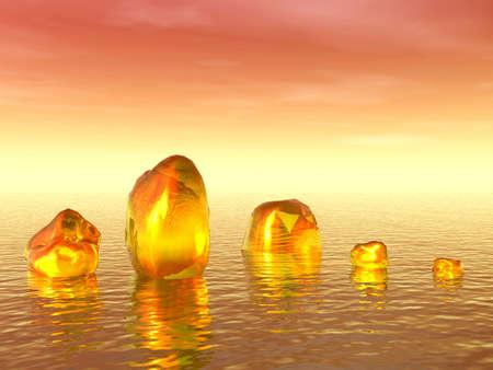 3D landscape. Gold ice photo
