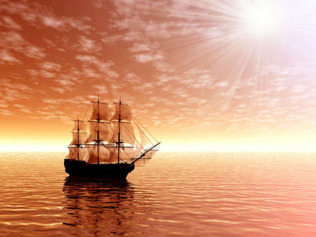 morn: Sunrise. Sailing ship. 3D landscape