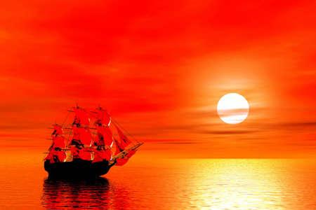 sailer: Sunset. Sailing ship. 3D landscape Stock Photo