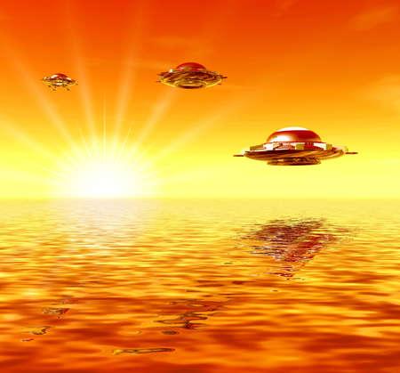 Ufo and sun. Sunset. 3D landscape photo