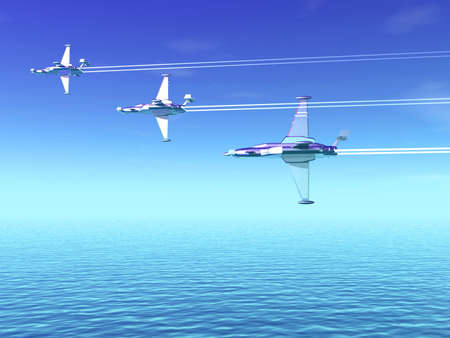 Airplanes and sea. 3D landscape Stock Photo - 1341887