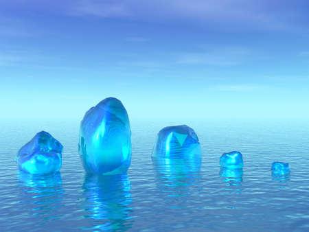 3D landscape. Ice in ocean Stock Photo - 1341883