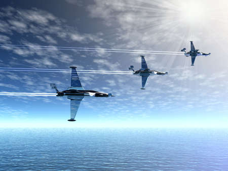 Airplanes and sea. 3D landscape photo