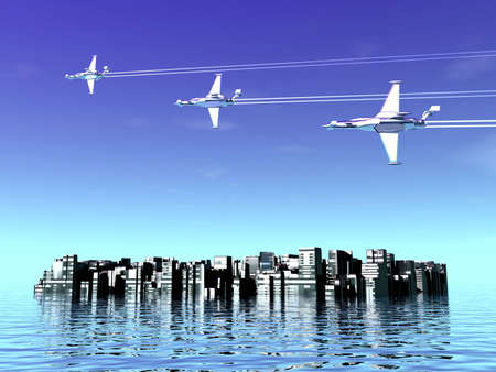 Airplanes and city. 3D landscape picture photo
