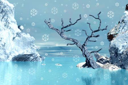 Winter tree and snowflakes photo