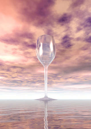 illustrates: Lonely glass. Sunset. 3D illustration Stock Photo