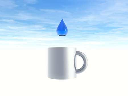 illustrates: Drop of water and cup. Illustration 3D